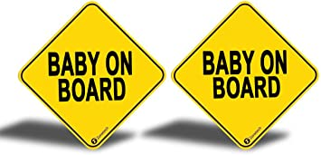 2-Pack Premium Quality Convenient Reflective Baby On Board Vehicle Safety Funny Sign Bumper Magnet ST0052 Zone Tech Baby On Board Vehicle Bumper Magnet