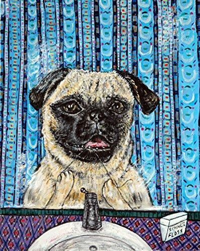Pug Flossing Bathroom Dentist decor signed dog art ()