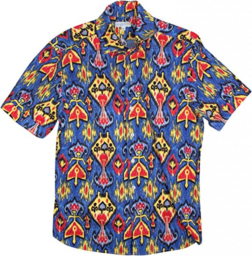Shirts Hawaiian Crazy - Seaplane's 'Royal Tribal' Men's Blue Short Sleeve 100% Cotton Print Camp Shirt