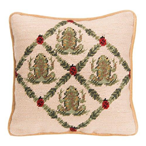 Glenna Jean Frog & Ladybug Pillow - Frog Needlepoint
