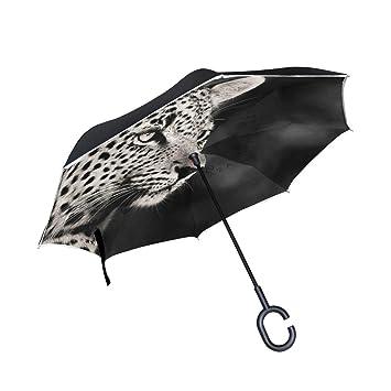 Mnsruu Paraguas invertido con patrón de Leopardo Doble Capa Plegable Resistente al Viento y a los Rayos UV, Paraguas de Viaje para Mujeres y Hombres: ...