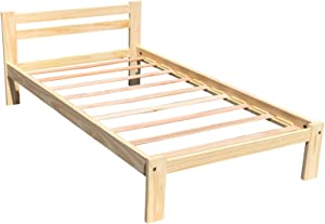 Amazonas Twin-XL Bed Solid Pine Wooden Single Bed Unfinished with Hardwood Slats Support Suitable for Boys Girls Kids Bedroom Wooden Bed Frame Single Bed Ready to Finish