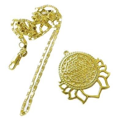 Sri Yantra - Colgante/Amuleto con Lotus, dorado - Esoterik ...