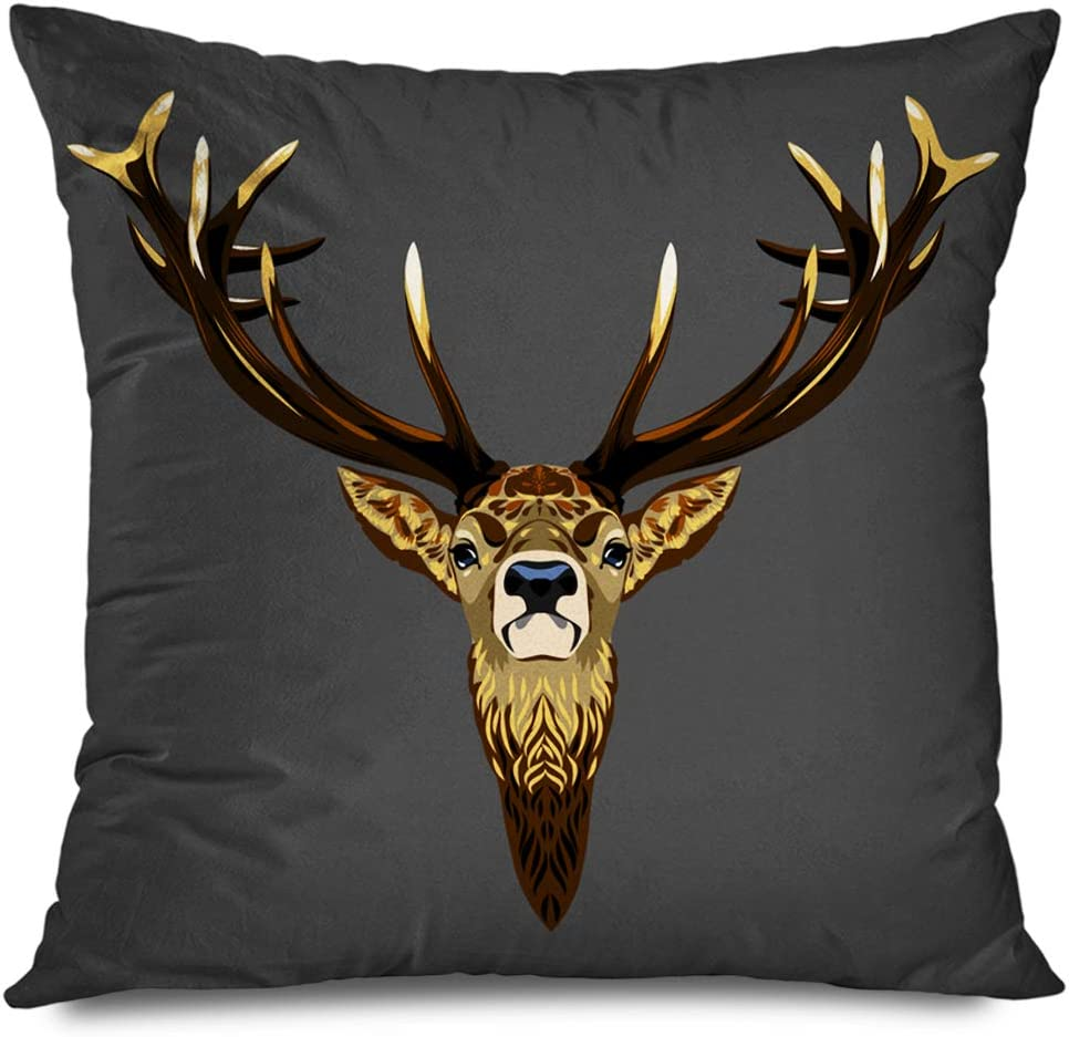Ahawoso Throw Pillow Cover Square 16x16 Inch High Merry Horned Pets Christmas Hunting Zoo Cute Moose Deer Animals Wildlife Lapland North Nature Decorative Zippered Pillowcase Home Decor Cushion Case