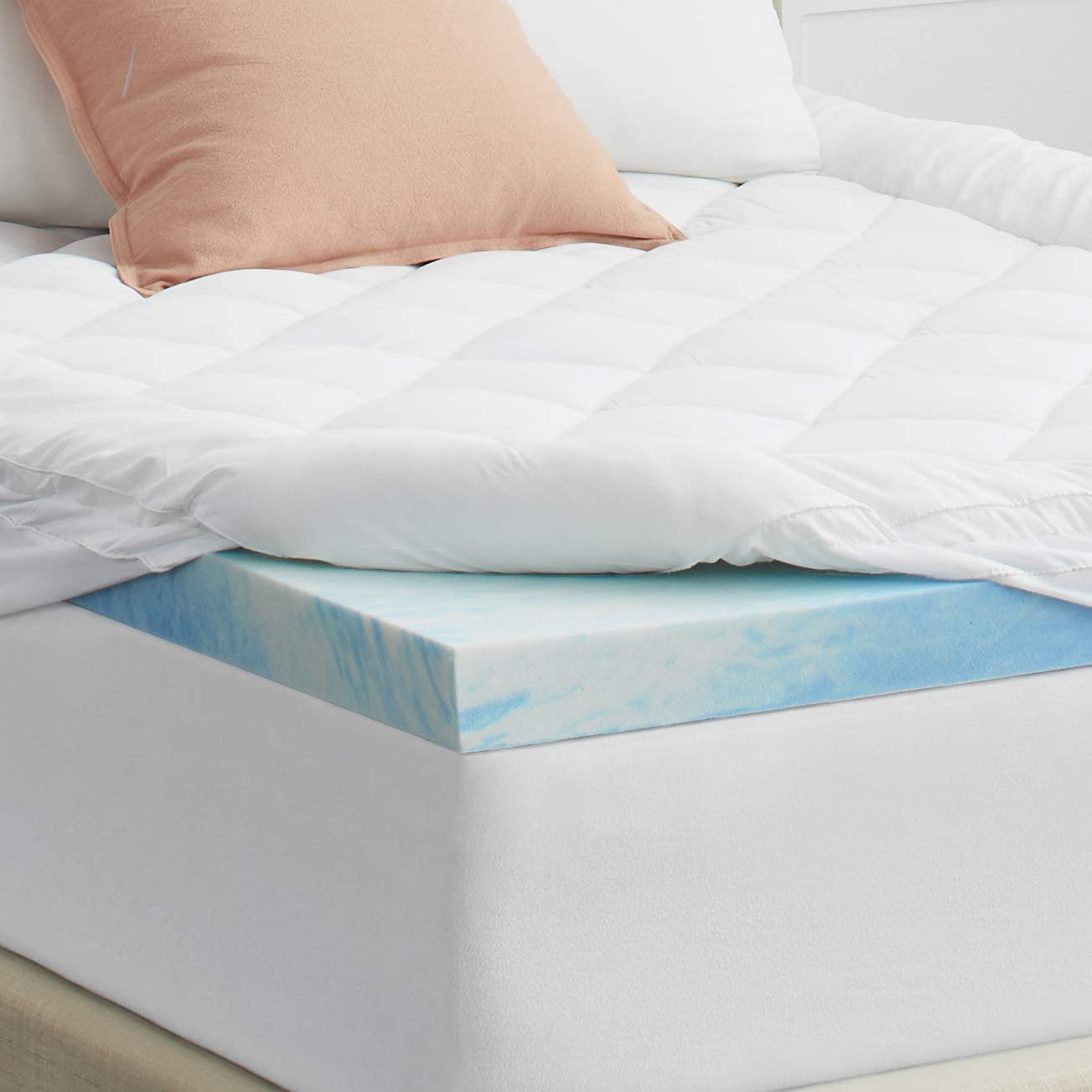 "Sealy 4"" SealyChill Gel + Comfort Pillowtop Memory Foam Mattress Topper, Queen, White"