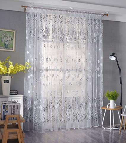 YJBear Polyester Beautiful Tulip Sheer Curtains for Living Room Grommet  Bedroom Voile Window Treatment Curtain Set,Gray,78.7\