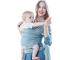 ZUMECA Fular Portabebé Unisex, Multiuso Porta bebé Elástico Pañuelo de algodón para Madre y Padre, Portador, Disponible para Portador, Manta para Lactancia, Cinturón posparto (Gris)