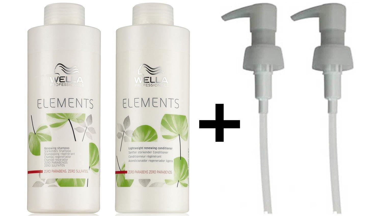 Wella Elements Renewing Shampoo + Lightweight Renewing Conditioner 1000ml + 2 PUMPS CoolBlades