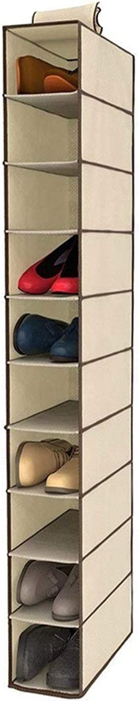 DS HOME Zapatero de Tela para Colgar en el Armario. Estantería Colgante para organizar Calzado con 10 estantes. Armario de Tela para Guardar Zapatos ...