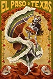 El Paso, Texas - Day of the Dead Dancer (9x12 Collectible Art Print, Wall Decor Travel Poster)