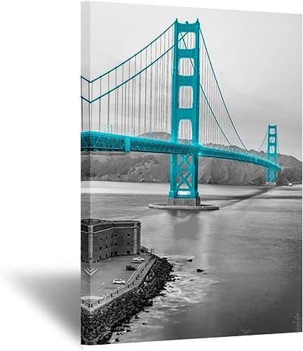 Kreative Arts Black and Teal Landscape Canvas Wall Art Decor Prints Golden Gate Bridge San Francisco Giclee Artwork