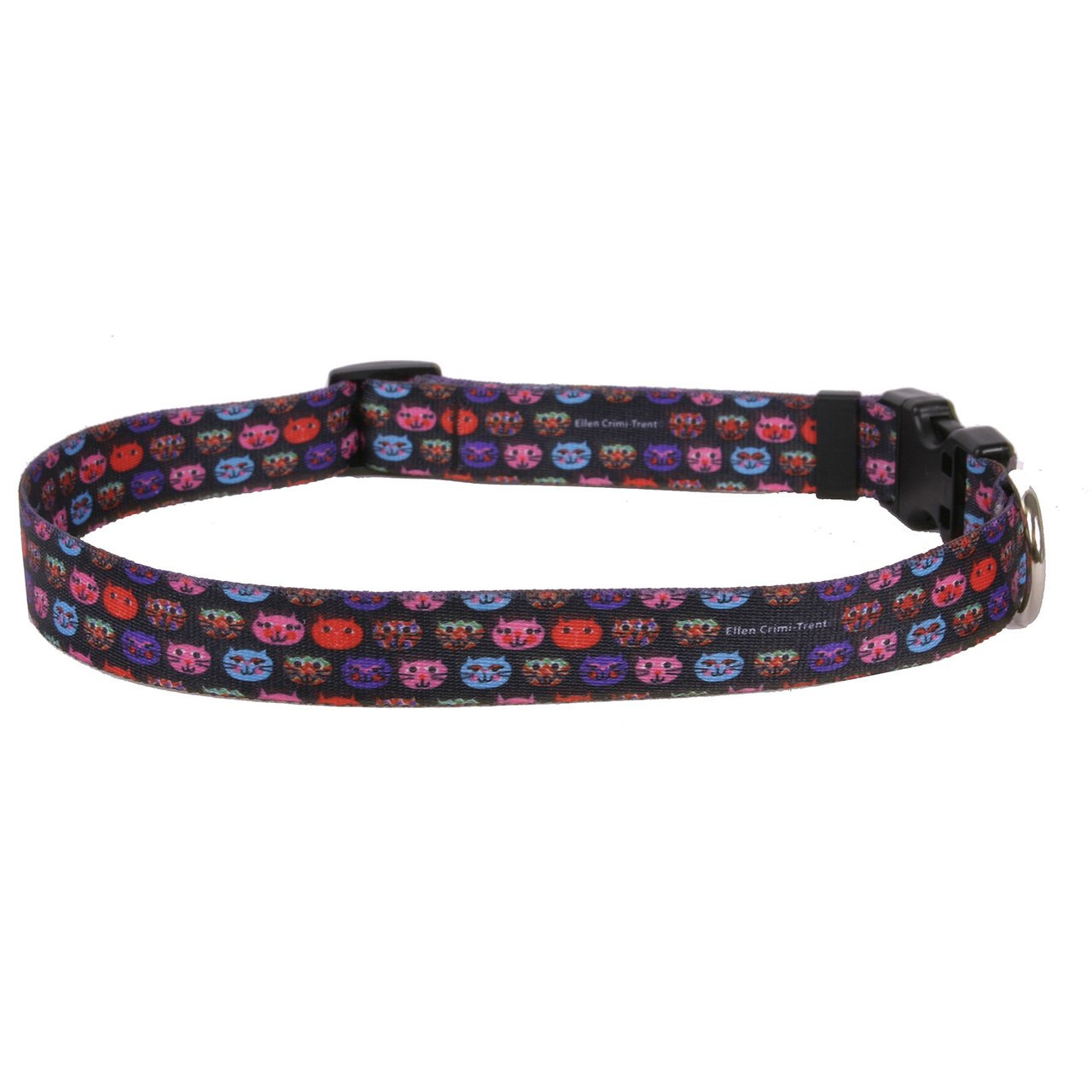 Yellow Dog Design Cat Faces Dog Collar 1'' Wide And Fits Neck 18 To 28'', Large