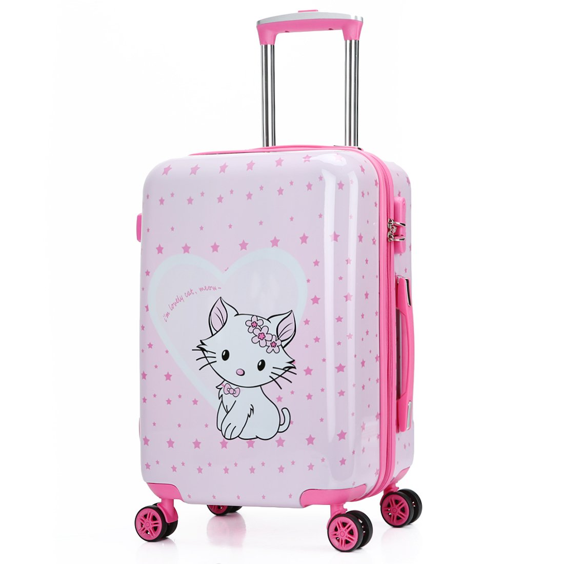 Kids Luggage Carry On Luggage With Spinner Wheels Toddlers Teenage Children Boys And Girls Travel Trolley Case (20inch, Pink love cat)