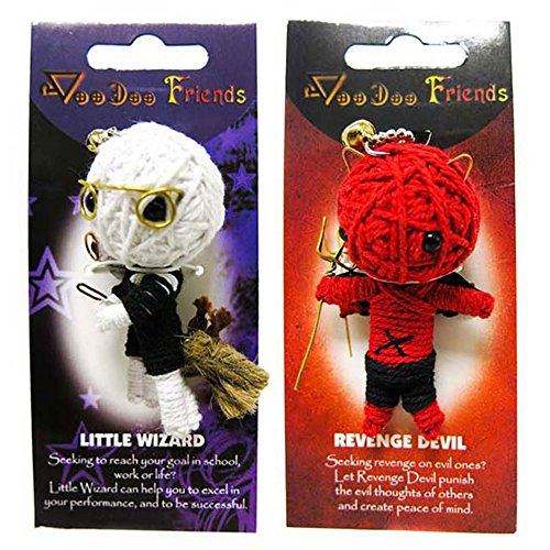 FROG SAC Voodoo Dolls Set of 2 - Yarn String Doll Great as Keychain, Charm for Purse, Backpacks, Office Accessories - Great Gifts (Little Wizard & Devil)