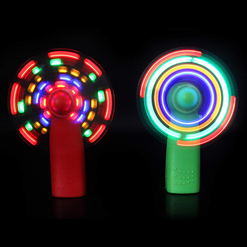 dezirZJjx Handheld Fan, Battery Operated Face Fan, Portable Travel Fan,Mini Electric Cooling Fan 4 Color Changing LED Light Concert Props Green