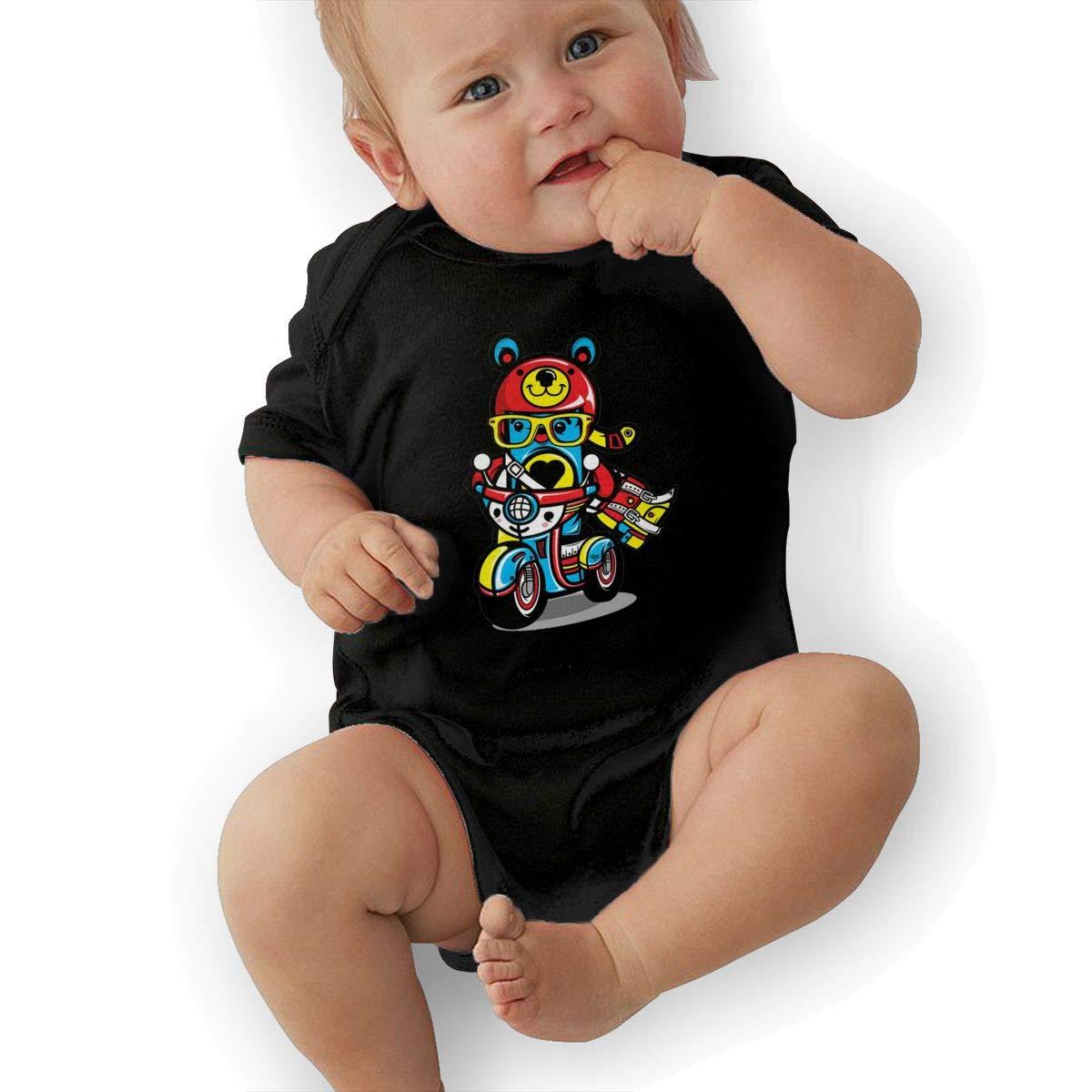 Dfenere ChocoToy Retro Newborn Baby Short Sleeve Bodysuit Romper Infant Summer Clothing