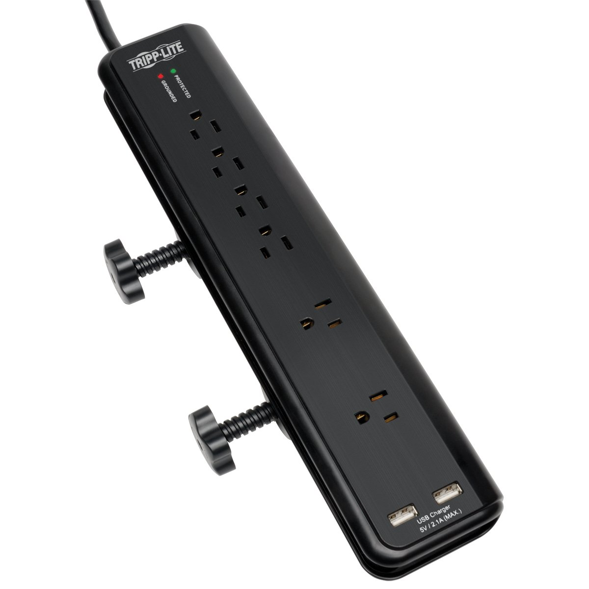 Tripp Lite 6 Outlet Surge Protector Power Strip Clamp Mount 6ft Cord 2100 Joules Dual USB & INSURANCE (TLP606DMUSB)