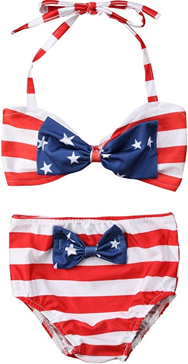 MNLYBABY Toddler Baby Girls Swimsuit 3Pcs Stars Stripes Bikini Bathing Suit 4th of July Infant Baby Girls Swimwear Beachwear