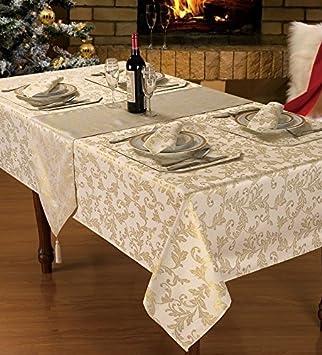 lujoso y moderno navidad jacquard crema oro servilletas a juego con mantel