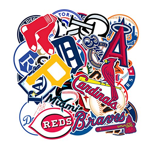MLB Major League Baseball Prismatic Stickers Set of 30 Teams Computer Car Skateboard Motorcycle Bicycle Luggage Guitar Bike Decal (Baseball Team Logo) -