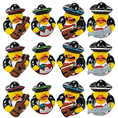 Kicko Mariachi Band Rubber Ducks - 2 Inch Vinyl Duckies, Pack of 12