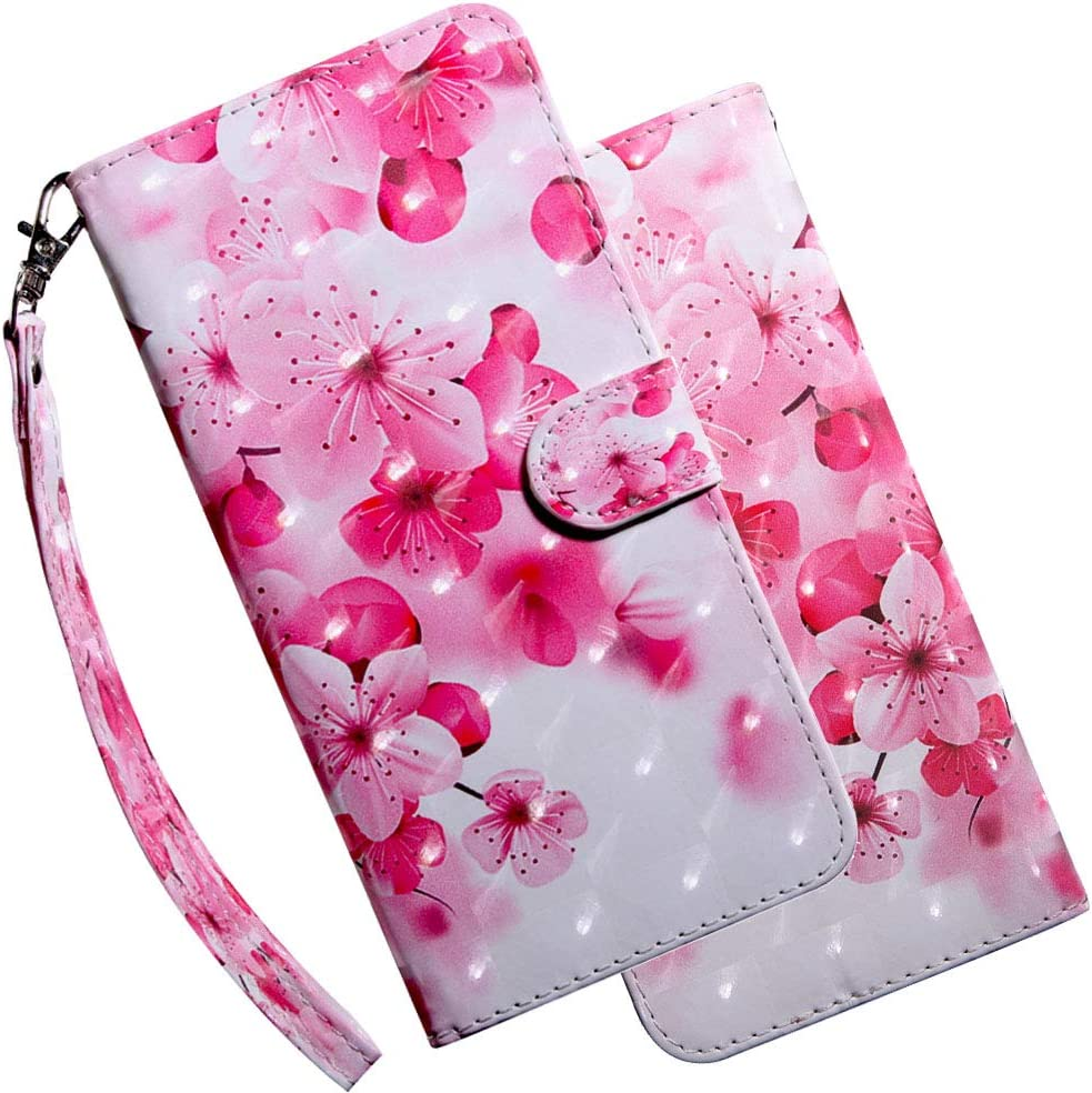 Asdsinforu Nokia 2.4 Case 3D Stylish Advanced Embossing Wallet Case Credit Cards Slot with Stand for PU Leather Shockproof Flip Magnetic Case for Nokia 2.4 Cherry Flower BX