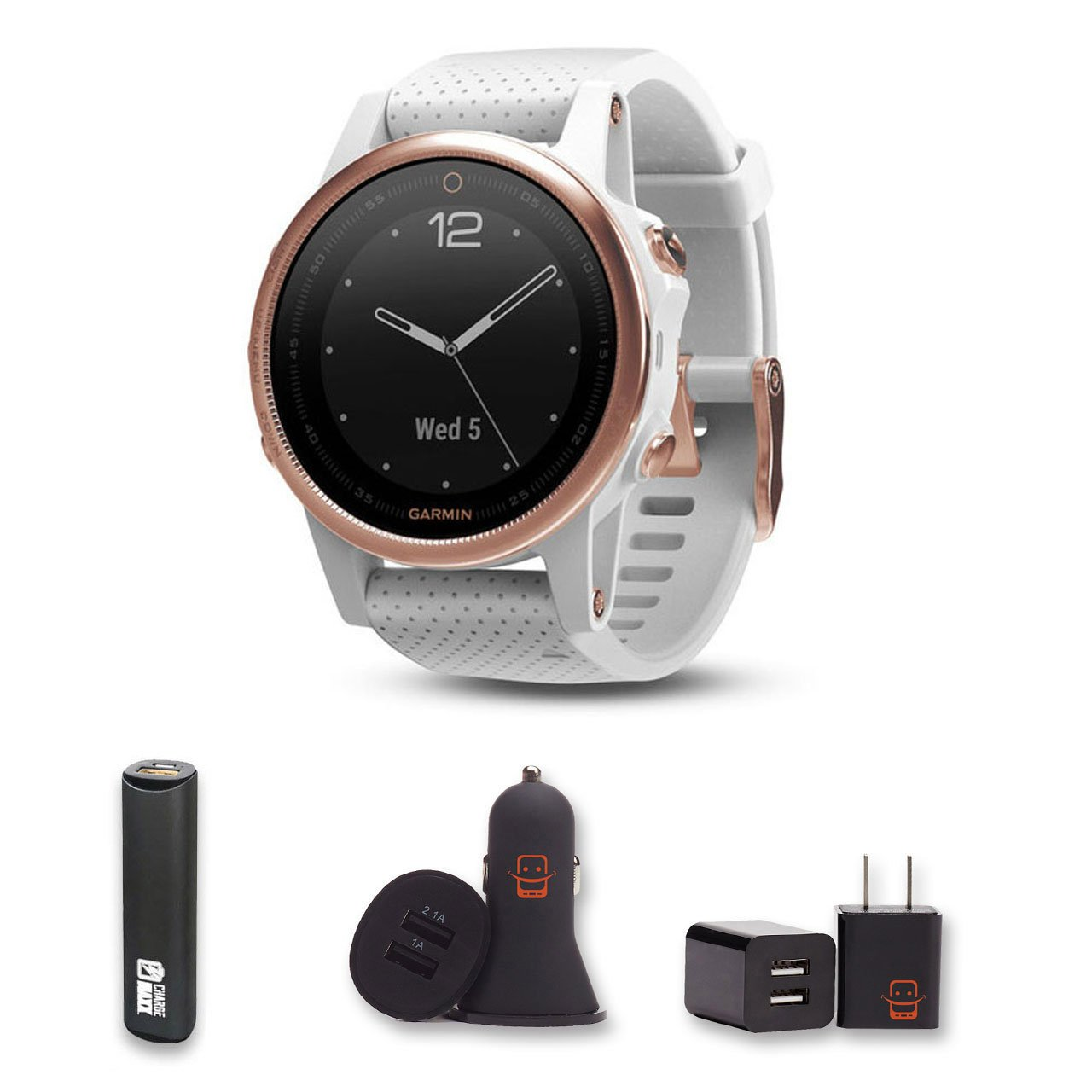 Garmin Fenix 5S - Sapphire, (Rose Gold/White Band) Bundle with PowerBank + USB Car Charger + USB Wall Charger (4 Items)