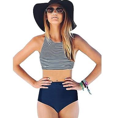 221004c21e214 Axchongery Bikini Set, Sexy Tank Top Swimsuit Stripe Swimwear 2PCS  Beachwear Bathing Suit at Amazon Women's Clothing store: