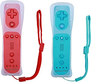 Poulep Wireless Controller for Wii Wii U Gamepad Console with Motion Plus (Red and Blue)