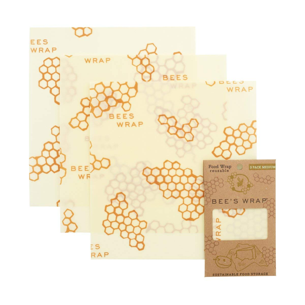 Bee's Wrap set of 3 (3x medium) beeswax cloths,the environmentally-friendly alternative to plastic sheet or foil Bee's Wrap