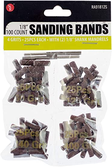 Sona Enterprises RA91412S SE RA91212S 1//2 Sanding Bands with 2 Rubber Mandrels 100 PC.