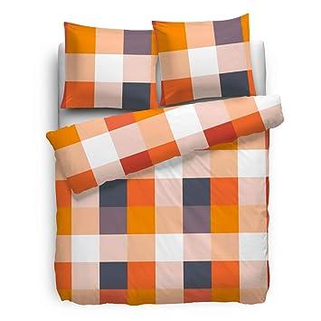 80x80 Cm Biber Bettwäsche Kariert Grau Orange 135x200 Cm Bettwäsche