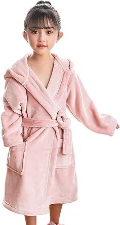 HAHABABY Albornoz Adecuada para Niñas Niños Pijamas Sudaderas Algodón 100% Manga Larga Albornoz De Baño Toalla Playa Disponible en Varias Tallas Batas,Pink,150: Amazon.es: Ropa y accesorios