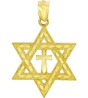 14k Yellow Gold Diamond-cut Star of David w/Cross Pendant C3740