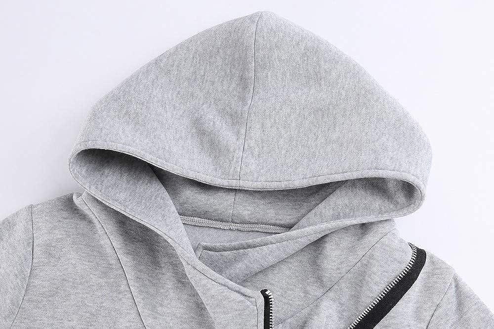 Womens Winter Irregular Zipper Blouse Hoodie TIFENNY High Neck Hooded Sweatshirt Coat Jacket Outwear
