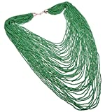 Fashion Jewelry Green Resin Seed Beads Layered Handmade Bead Cluster Long Pendant Statement Bib Necklace