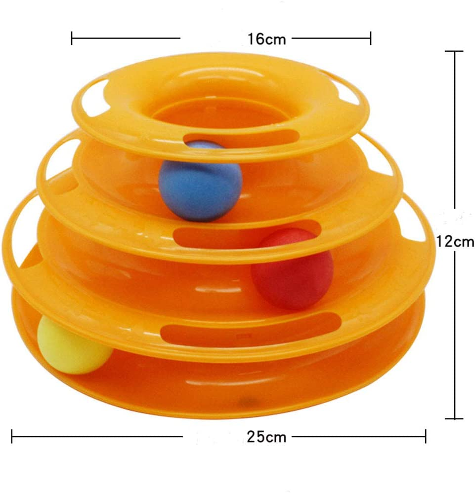Green YUEMING Cat toys tower of tracks cat toy roller cat toy tower of tracks 3 level with towers tracks roller three colorful balls Interactive cat fun mental physical exercise puzzle toys
