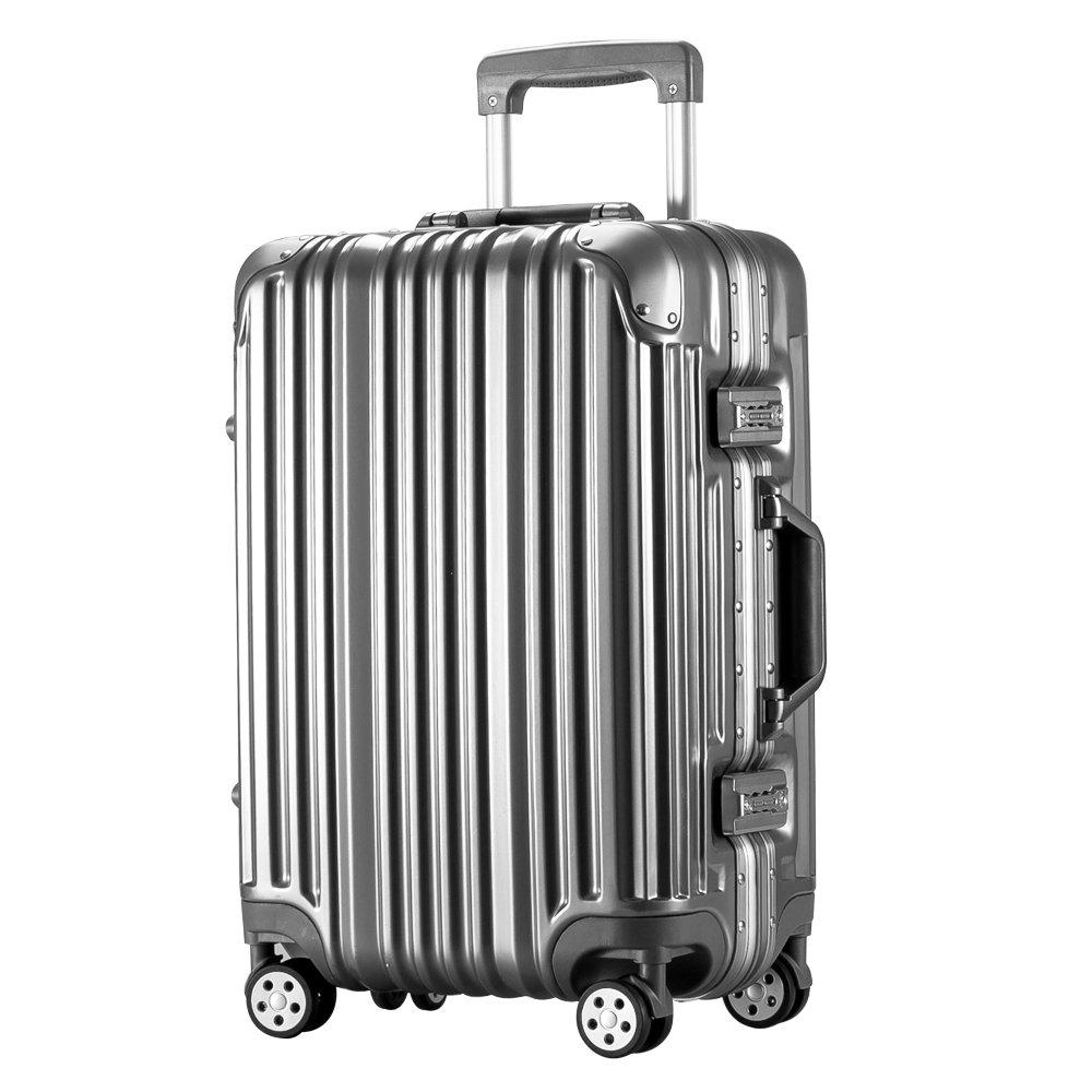[トラベルハウス]Travelhouse スーツケース キャリーバッグ アルミフレーム ABS+PC 鏡面 超軽量 TSAロック B01L1J2Z1K L|グレー グレー L