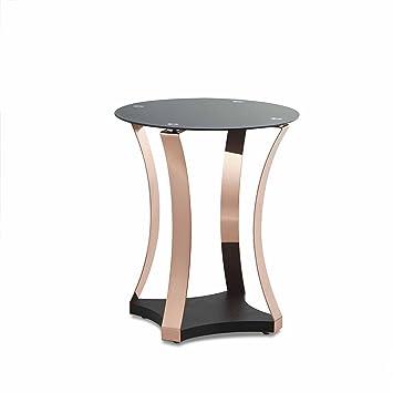 Ottmar Schwarz Glas Ende Tisch Beistelltisch Beine Mit Kupfer Finish