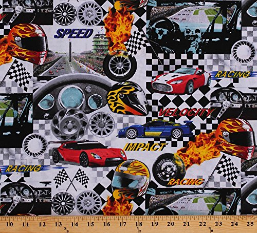 Cotton Auto Racing Race Cars Racecars Race Track Speedometers for sale  Delivered anywhere in USA