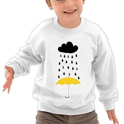 Anutknow Black Raining Cloud Yellow Umbrella Children's Round Neck Soft Hoodies Sweatshirt