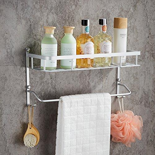 Wall Mounted Aluminum Bathroom Shelves with Towel Bar,Morden Double Deck Towel Rack,Lightweight,16 inch Aluminum Solid Wall Mounted Shelf