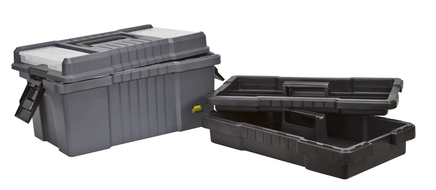 Plano 823-003 Contractor Grade Po Series 22-Inch Tool Box, Graphite Gray with Black Handles and Latches