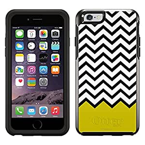 Skin Decal for OtterBox Symmetry Apple iPhone 6 Case - Chevron Black White Yellow Ribon
