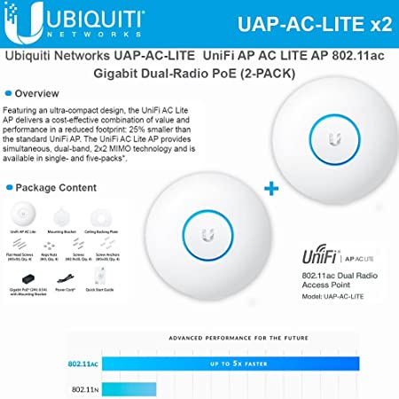 Ubiquiti Uap Ac Lite 2 Pack Unifi Ap Ac Lite Ap 802 11ac Gigabit Dual Radio Poe Computers Accessories