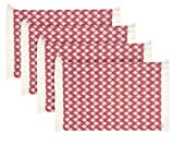Sticky Toffee Cotton Woven Placemat Set with Fringe, Scalloped Diamond, 4 Pack, Red, 14 in x 19 in