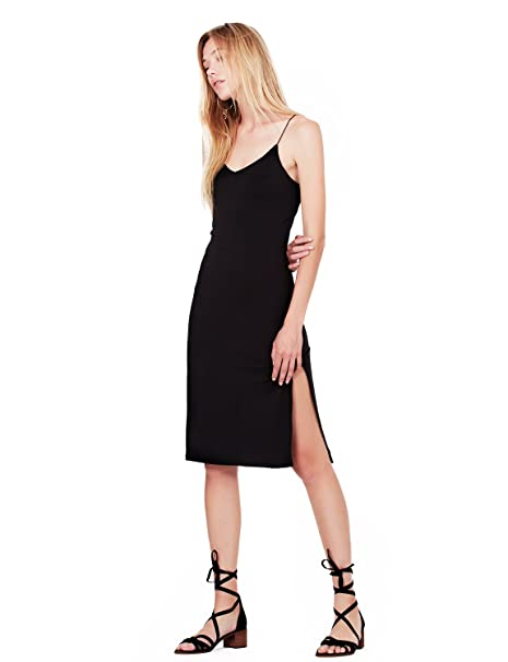 1936b90ad6a8 LE3NO Womens Fitted Stretchy Sleeveless Bodycon Midi Slip Dress with High  Slit at Amazon Women's Clothing store: