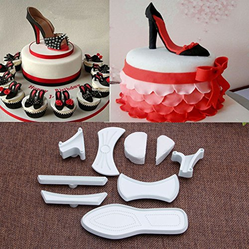 Mercurry 9Pcs High-Heeled Shoes Fondant Cake Mold Cutter Sugarcraft Mold Decorating Tools
