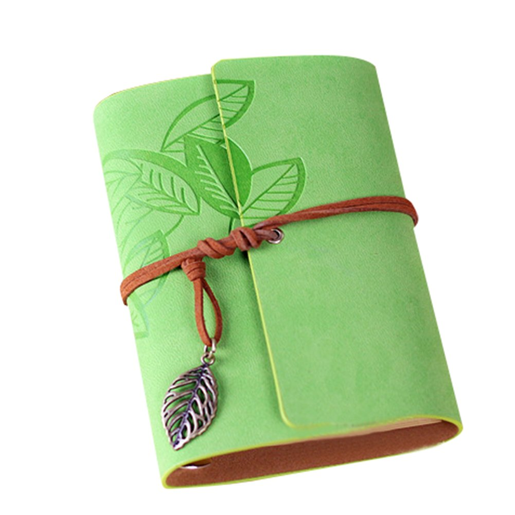 LAAT 1pc Notebook Notepad Pattern Vintage Creative Journal Notebook Travel Folders Leaves Mobile size 14.510.5cm (Light Green)