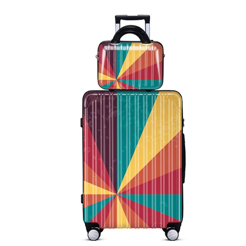 旅行用品荷物スーツケーストロリーケース 優れた回転幾何学的なジグソーパズル箱トランク箱女性搭乗箱学生パスワードボックス20/24インチ。 B07ST8FNZ4